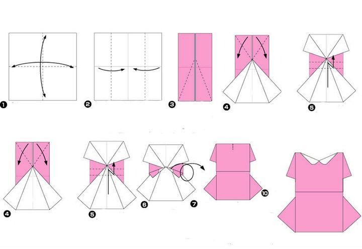 Поэтапная сборка оригами-платья для девочки на 8 марта