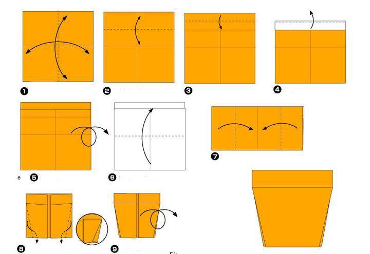 Поэтапная сборка Анютиных глазок в технике оригами