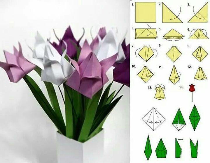 Поэтапная сборка тюльпанов в технике оригами