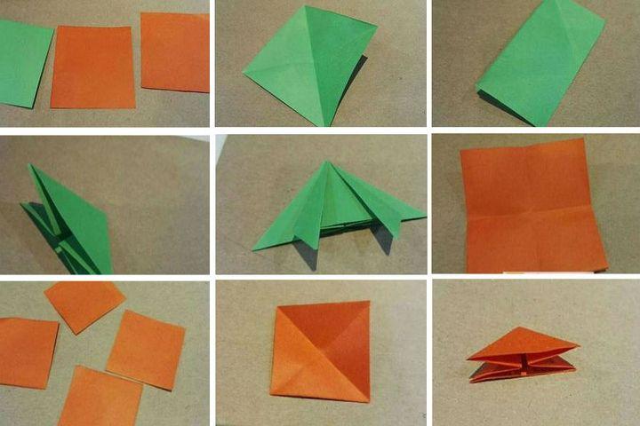 Поэтапная сборка  закладки в виде оригами-ромашки