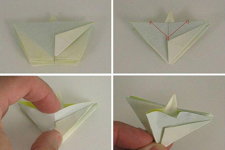 Поэтапная сборка  оригами-ромашки с объёмной сердцевиной