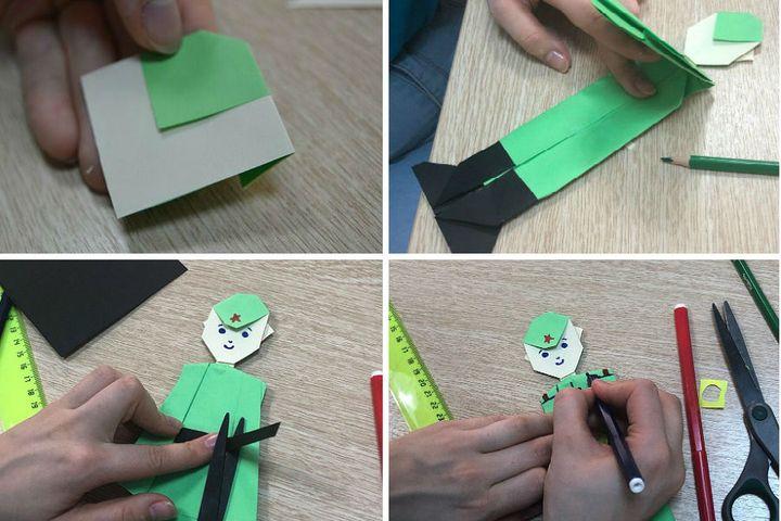 поэтапная сборка оригами-открытки на 23 февраля