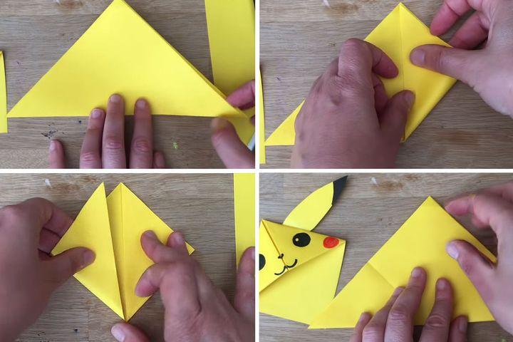 Мастер-класс по сборке Пикачу-закладки в технике оригами