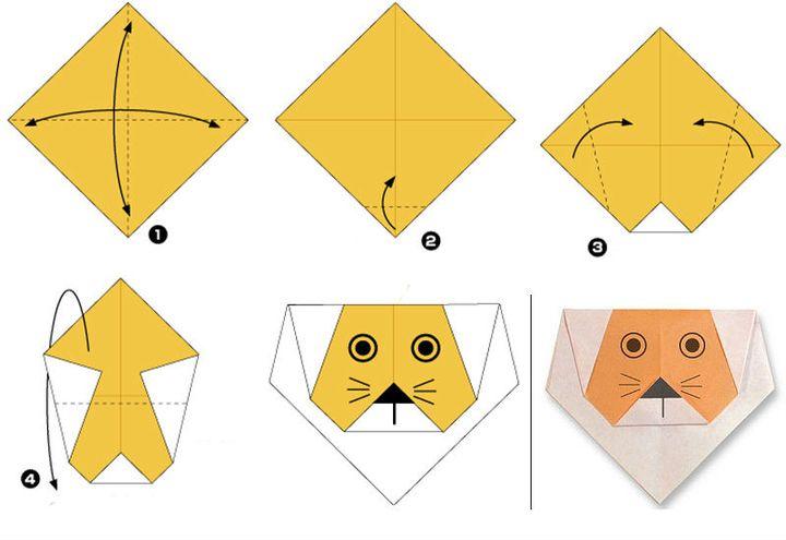 Мастер-класс по сборке оригами-львенка из бумаги
