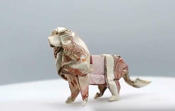 Мастер-класс по сборке сложной фигуры оригами-льва из банкнот