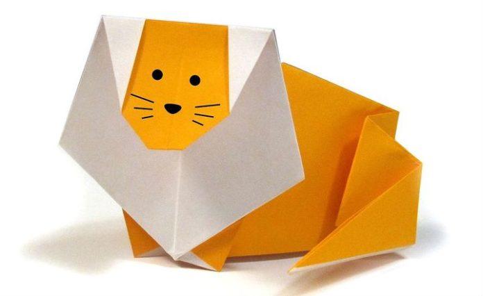 Мастер-класс по сборке оригами-льва из бумаги