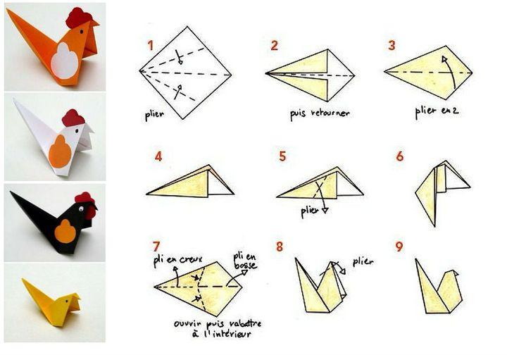 Мастер-класс для детей по сборке простой модели оригами-петушка