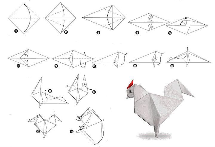 Мастер-класс по сборке оригами-петушка