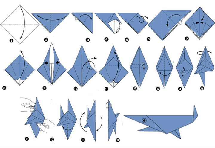 Сборка акулы-оригами