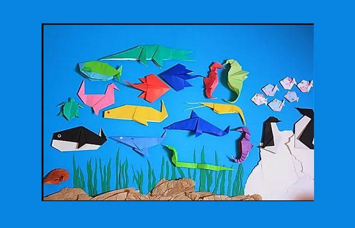 Картина из акул в технике оригами