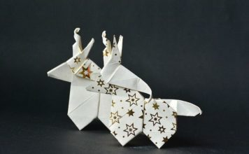 Оригами-единороги - елочные игрушки