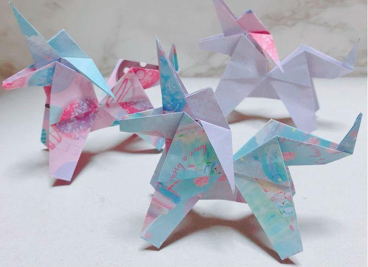 Праздничное оригами-единорог