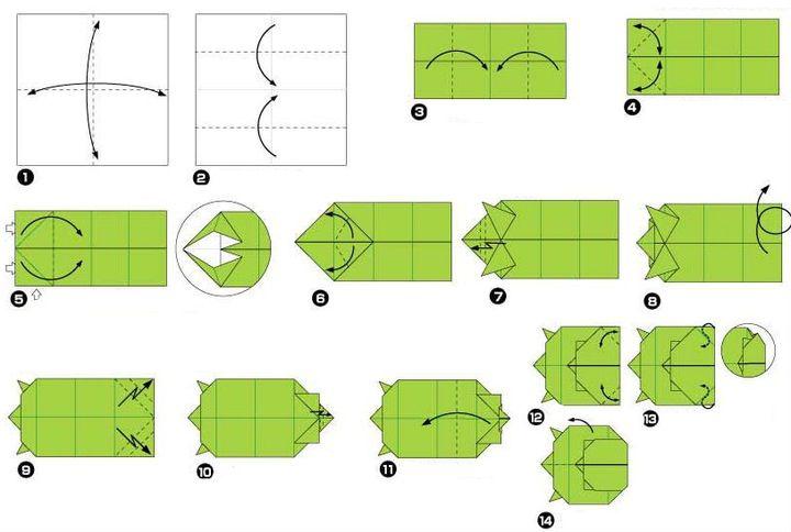 Оригами-черепаха из бумаги