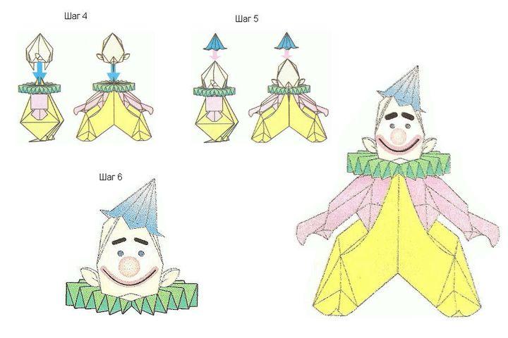 Инструкция по изготовлению объемного оригами-клоуна