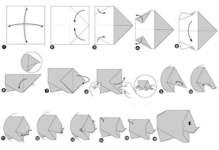 Мастер-класс по сборке простой фигурки оригами-носорога