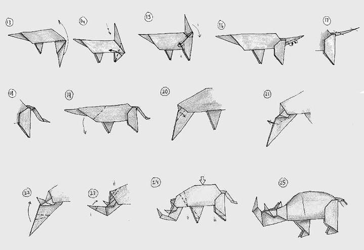 Мастер-класс по сборке сложной фигурки оригами-носорога