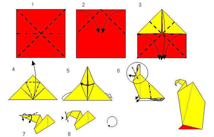 Мастер-класс по изготовлению оригами-орла для начинающих №1