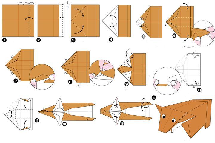 Поэтапная сборка индийского водяного буйвола в технике оригами