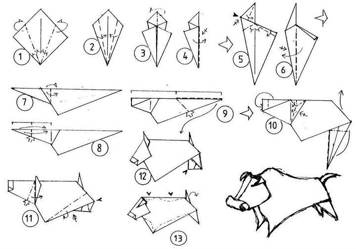 Поэтапная сборка оригами-быка от Йозефа Зебе