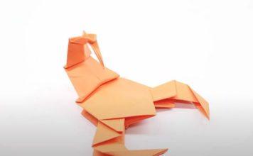 Оригами-скорпион на основе базовой формы «Птица»