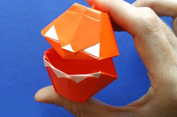 """Мастер-класс по сборке  """"говорящей"""" тыквы в технике оригами"""