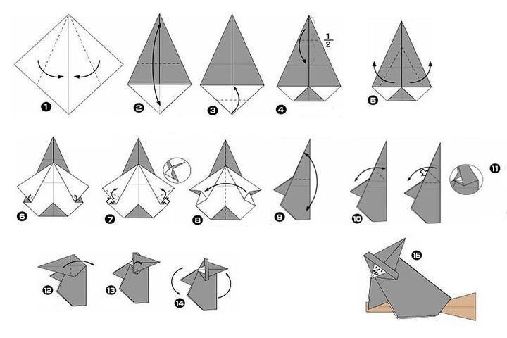 Мастер-класс по сборке  ведьмы на метле в технике оригами