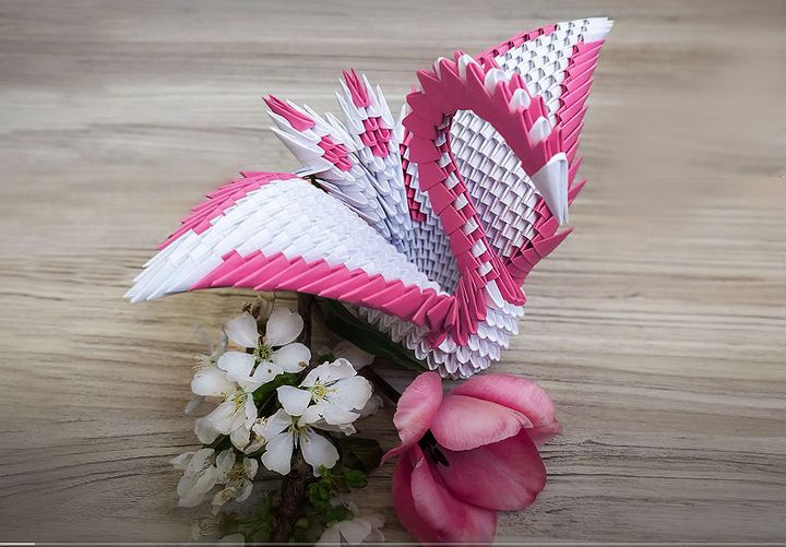 Модульное оригами «Лебедь»
