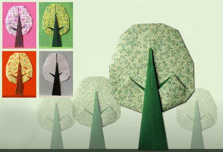 Мастер-класс по сборке открытки на День матери в виде оригами-дерева