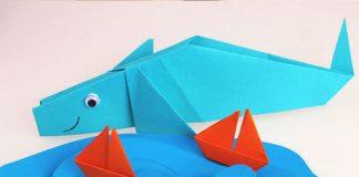 Синий кит – блювал в технике оригами