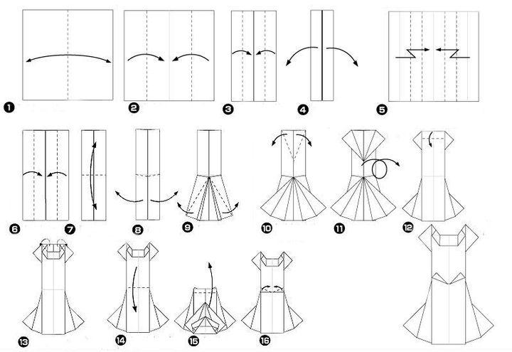 Мастер-класс по сборке свадебного платья-оригами