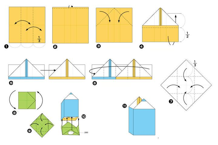 Поэтапная сборка оригами-подставки под карандаши