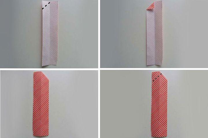 Поэтапная сборка оригами-карандаша в виде закладки