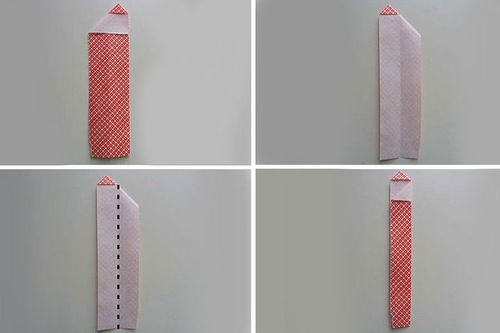 мПоэтапная сборка оригами-карандаша в виде закладки