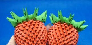 """Поэтапная сборка модульного оригами """"Клубничный куст в горшочке"""""""