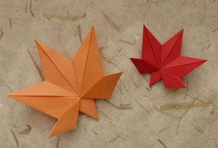 Пошаговая инструкция по сборке листа дланевидного клена в технике оригами