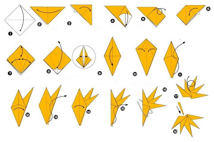Пошаговая инструкция по сборке листа Хаутива-каэдэ в технике оригами
