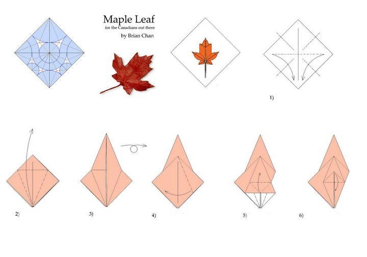 мПошаговая инструкция по сборке листа сахарного клена в технике оригами