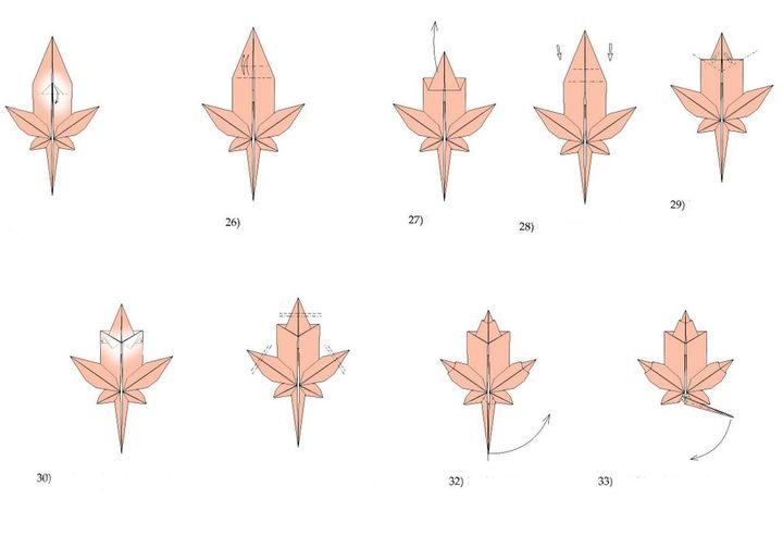 Пошаговая инструкция по сборке листа сахарного клена в технике оригами