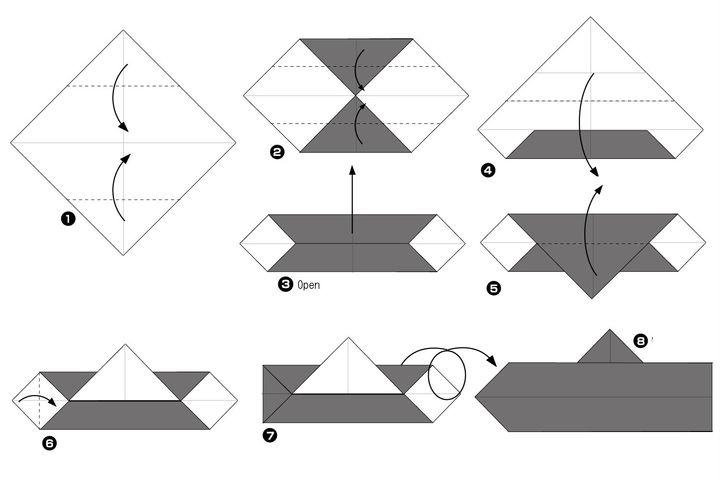 Поэтапная сборка оригами подводной лодки