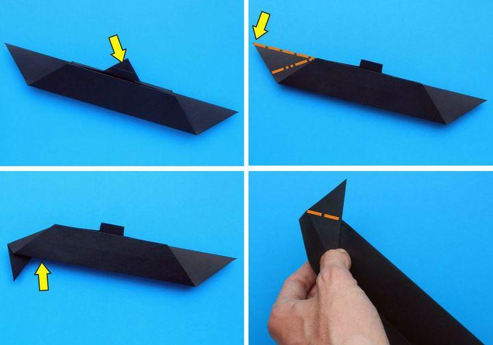 Поэтапная сборка объемной подводной лодки в технике оригами