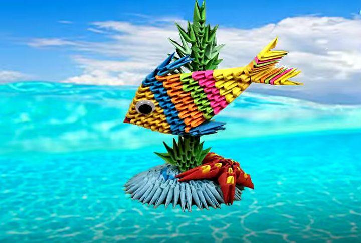 Оригами-рыбка из модулей
