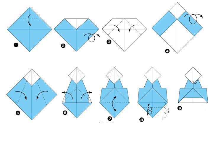 Пошаговая инструкция по сборке японской куклы обины технике оригами - 2 вариант