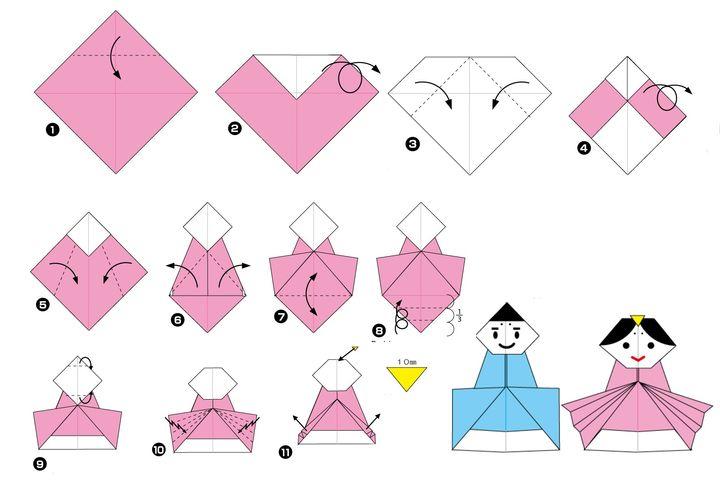 Пошаговая инструкция по сборке японской куклы мебины в технике оригами - 2 вариант