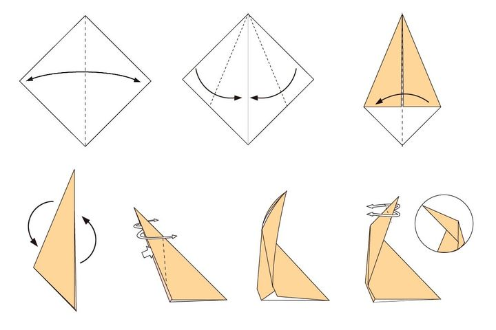 Поэтапная сборка оригами-жирафа