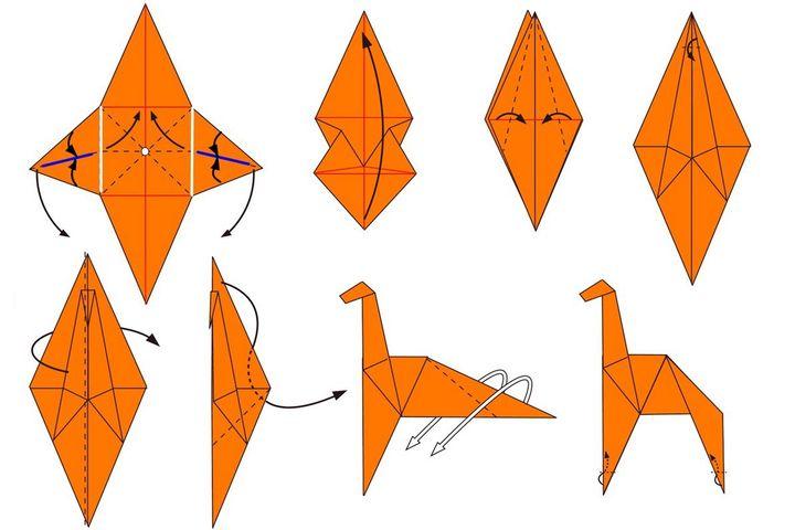 Поэтапная сборка оригами-жирафа на основе базовой формы Птица
