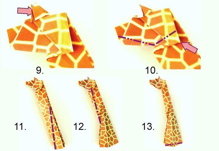 Поэтапная сборка оригами-жирафа по схеме Йоста Лангевельда