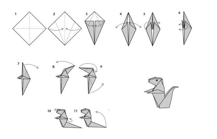 """Пошаговая инструкция по сборке простой модели оригами-белочки на основе базовой формы """"Птица"""""""