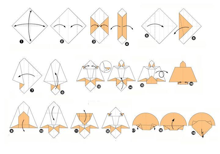 Пошаговая инструкция по сборке белки-летяги в технике оригами