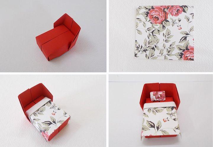 Поэтапная сборка кровати  для кукольного домика в технике оригами