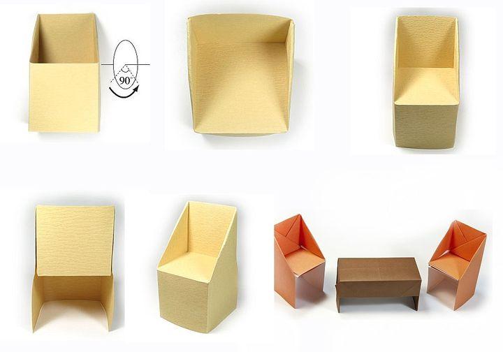 Поэтапная сборка кресла  для кукольного домика в технике оригами